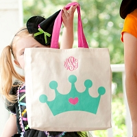 Halloween Princess Canvas Trick or Treat Candy Tote