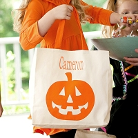 Halloween Pumpkin Canvas Trick or Treat Candy Tote