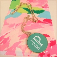Gold Plated Necklace with Aqua Disk Monogram JPR