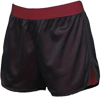 Black & Maroon Double Mesh Shorts - Medium