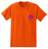 Short Sleeve Monogram Pocket T-Shirt in Orange