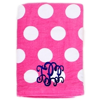 Pink Polka Dot Beach Towel