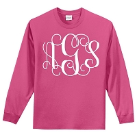 Pink Long Sleeve T-Shirt w/Extra Large Monogram - Small