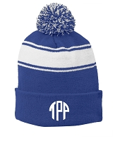 Royal Blue Classic Stripe Pom Pom Beanie Hat