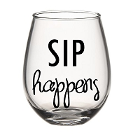 SIP Happens Stemless Wine Glass