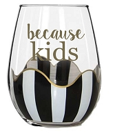 Because Kids Black Stripe Stemless Wine Glasses - SET OF 2