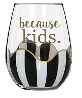 Black Stripe Stemless Wine Glass