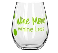Wine More Whine Less Stemless Wine Glass