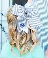 Mongorammed Blue Seersucker Hair Bow