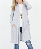 Heather Gray Slouchy Pocket Open Cardigan