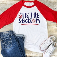 Tis The Season Baseball Raglan