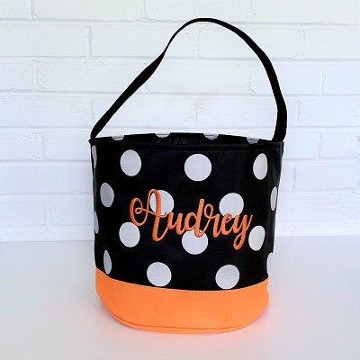 Halloween Polka Dot Trick or Treat Candy Tote Bucket