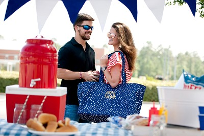 Navy Scattered Polka Dot Ultimate Tote