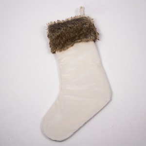 Luxe Velvet & Fur Stocking in Ivory