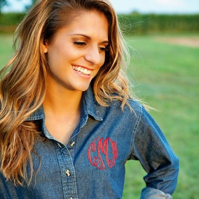 Monogrammed Denim Oversized Button Down Shirt