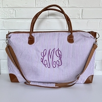 Monogrammed Seersucker Weekender Travel Bag