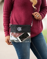 Black Game Day Clear Crossbody Purse