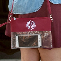 Garnet Game Day Clear Crossbody Purse